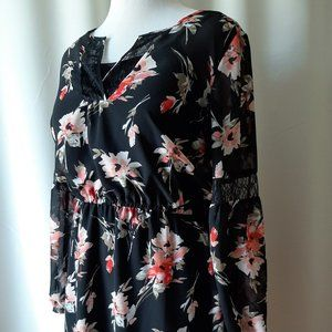 Dex Sheer Floral Lined Dress Size Large